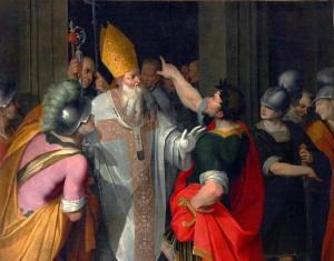 Camillo Procaccini, Ambroise interdit l'entrée de l'Eglise à Théodose, 1745, Milan
