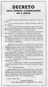 Scomunica ai comunisti, 1, Decreto